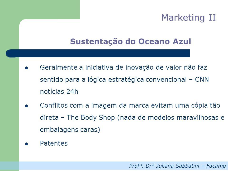 Profª. Drª Juliana Sabbatini – Facamp Marketing II Sustentação do Oceano Azul Geralmente a iniciativa de inovação de valor não faz sentido para a lógi