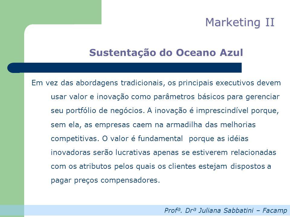 Profª. Drª Juliana Sabbatini – Facamp Marketing II Sustentação do Oceano Azul Em vez das abordagens tradicionais, os principais executivos devem usar