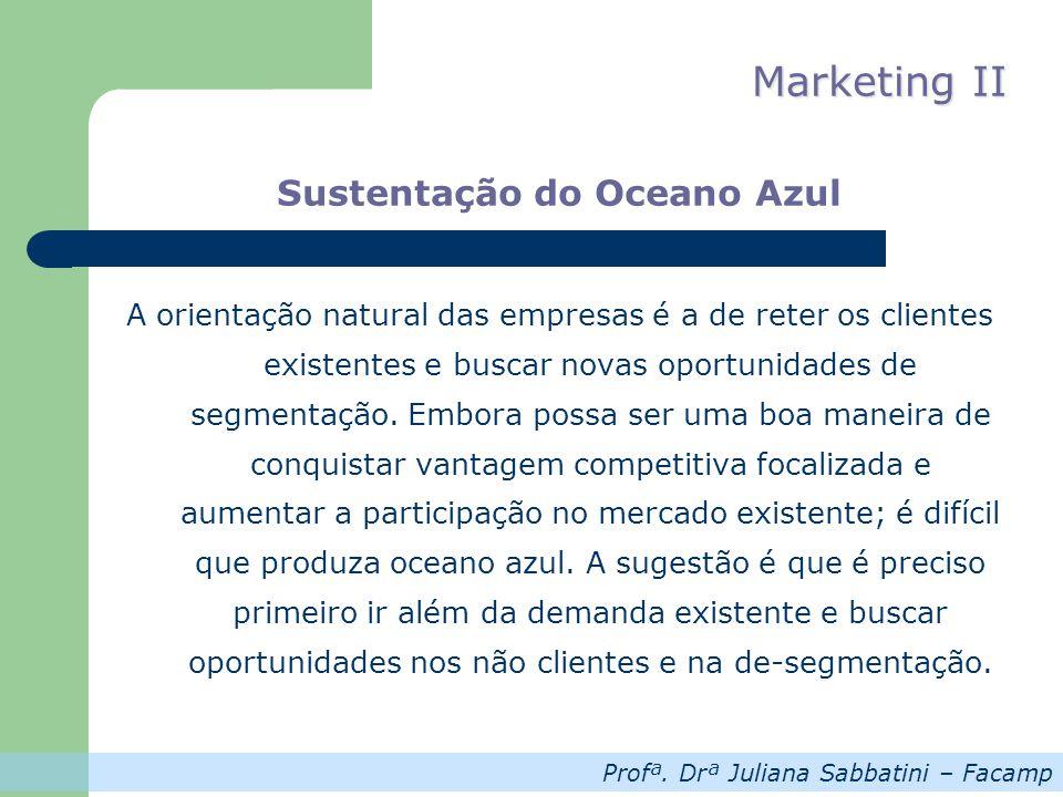 Profª. Drª Juliana Sabbatini – Facamp Marketing II Sustentação do Oceano Azul A orientação natural das empresas é a de reter os clientes existentes e