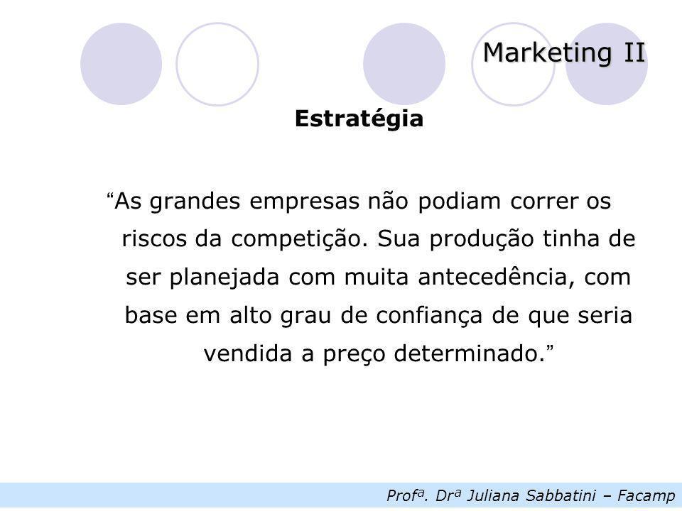 """Profª. Drª Juliana Sabbatini – Facamp Marketing II Estratégia """" As grandes empresas não podiam correr os riscos da competição. Sua produção tinha de s"""