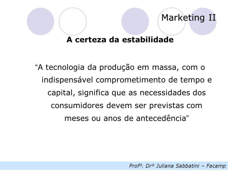 """Profª. Drª Juliana Sabbatini – Facamp Marketing II A certeza da estabilidade """" A tecnologia da produção em massa, com o indispensável comprometimento"""