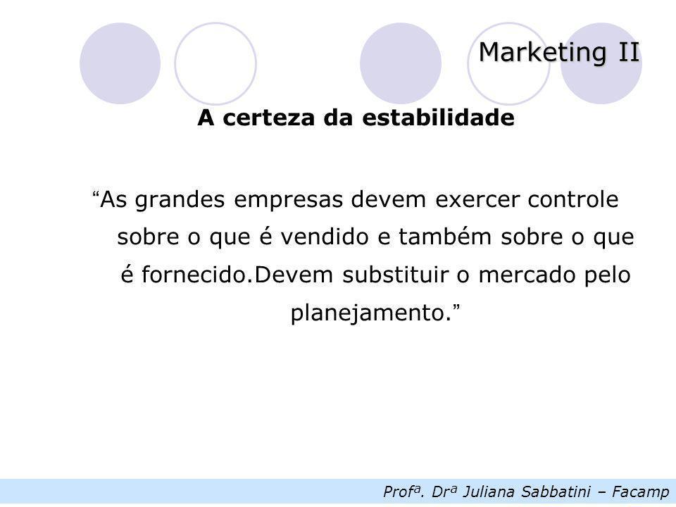 "Profª. Drª Juliana Sabbatini – Facamp Marketing II A certeza da estabilidade "" As grandes empresas devem exercer controle sobre o que é vendido e tamb"