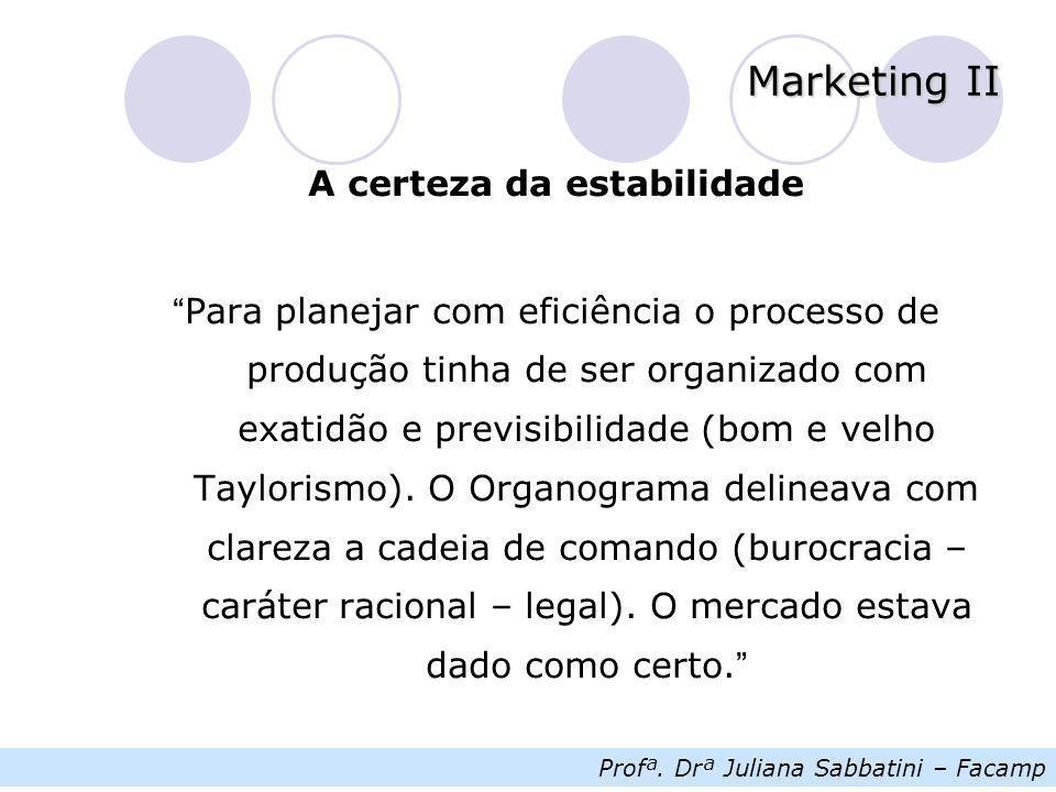 """Profª. Drª Juliana Sabbatini – Facamp Marketing II A certeza da estabilidade """" Para planejar com eficiência o processo de produção tinha de ser organi"""