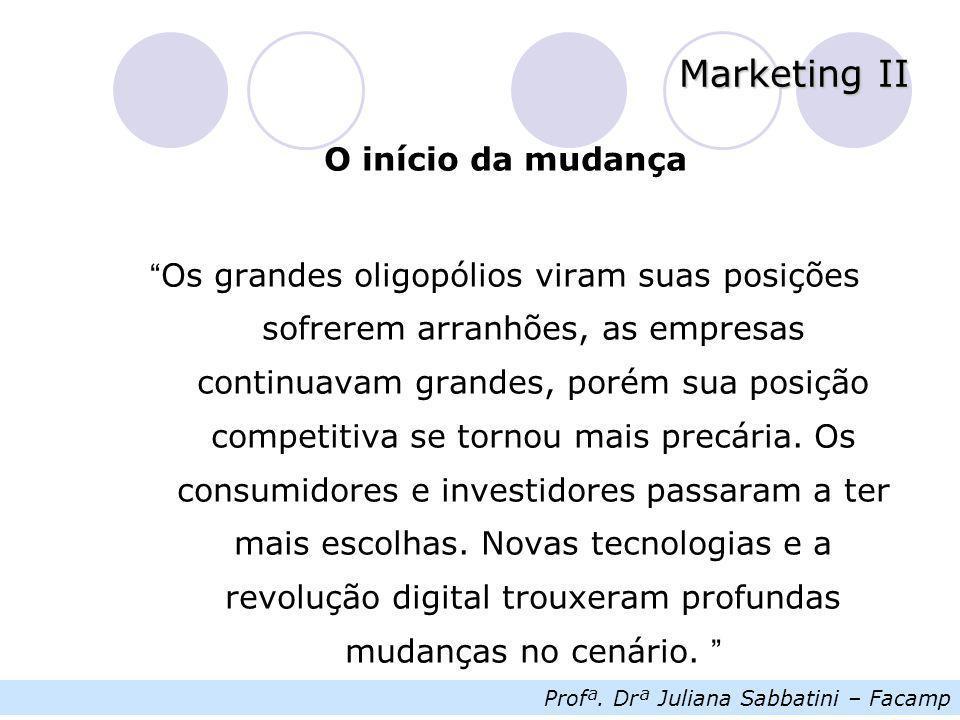 """Profª. Drª Juliana Sabbatini – Facamp Marketing II O início da mudança """" Os grandes oligopólios viram suas posições sofrerem arranhões, as empresas co"""