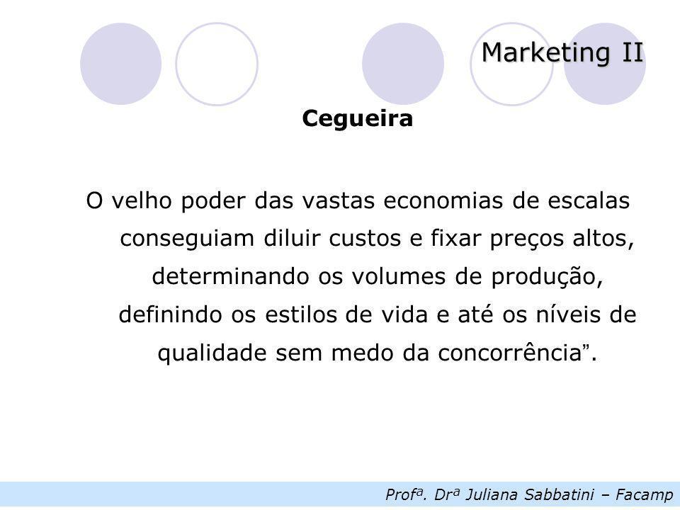 Profª. Drª Juliana Sabbatini – Facamp Marketing II Cegueira O velho poder das vastas economias de escalas conseguiam diluir custos e fixar preços alto