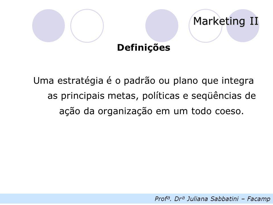 Profª. Drª Juliana Sabbatini – Facamp Marketing II Definições Uma estratégia é o padrão ou plano que integra as principais metas, políticas e seqüênci