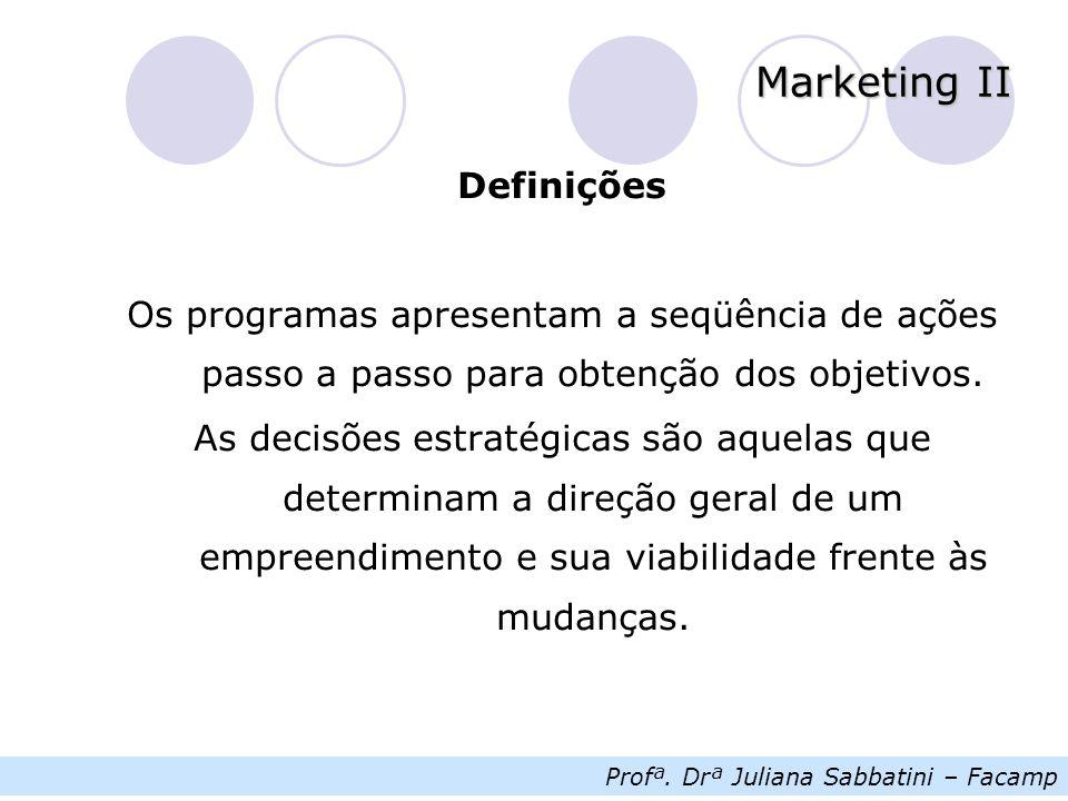 Profª. Drª Juliana Sabbatini – Facamp Marketing II Definições Os programas apresentam a seqüência de ações passo a passo para obtenção dos objetivos.