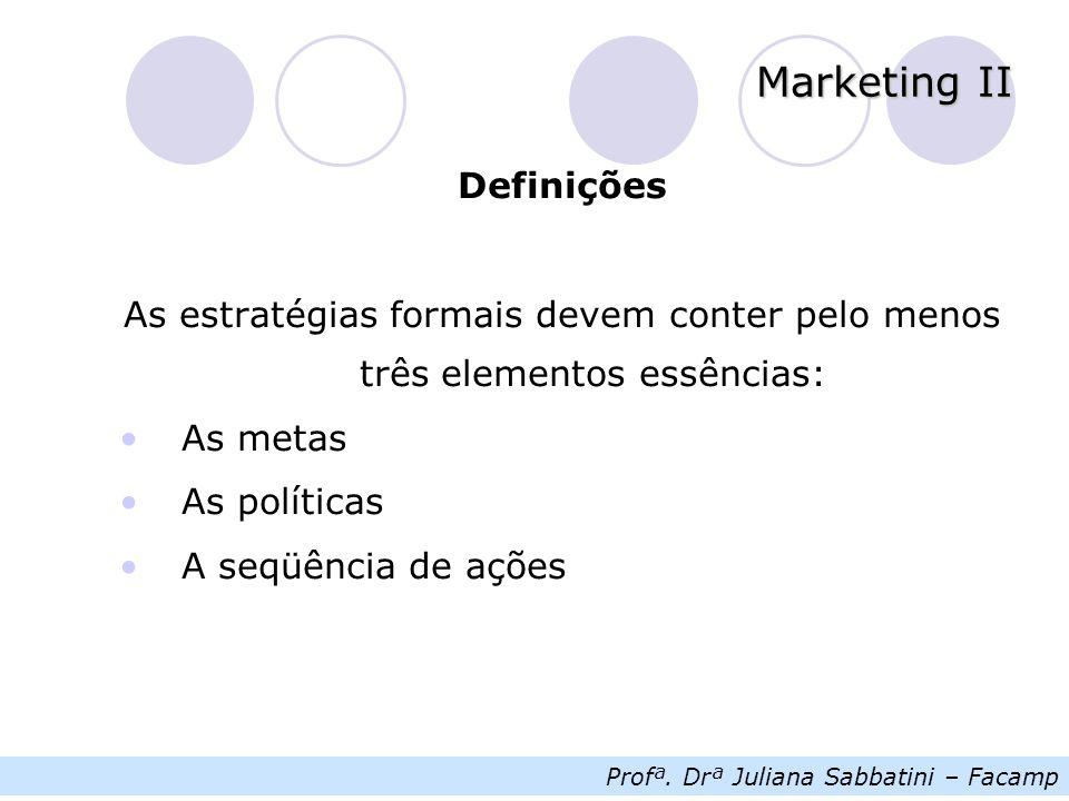 Profª. Drª Juliana Sabbatini – Facamp Marketing II Definições As estratégias formais devem conter pelo menos três elementos essências: As metas As pol