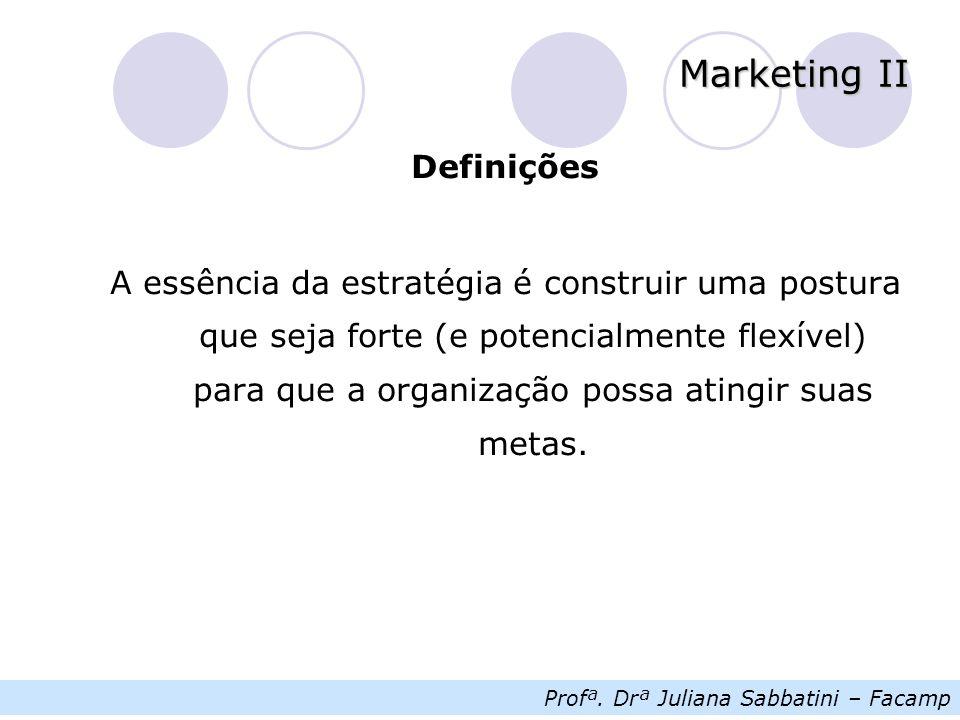 Profª. Drª Juliana Sabbatini – Facamp Marketing II Definições A essência da estratégia é construir uma postura que seja forte (e potencialmente flexív
