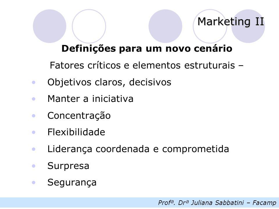Profª. Drª Juliana Sabbatini – Facamp Marketing II Definições para um novo cenário Fatores críticos e elementos estruturais – Objetivos claros, decisi