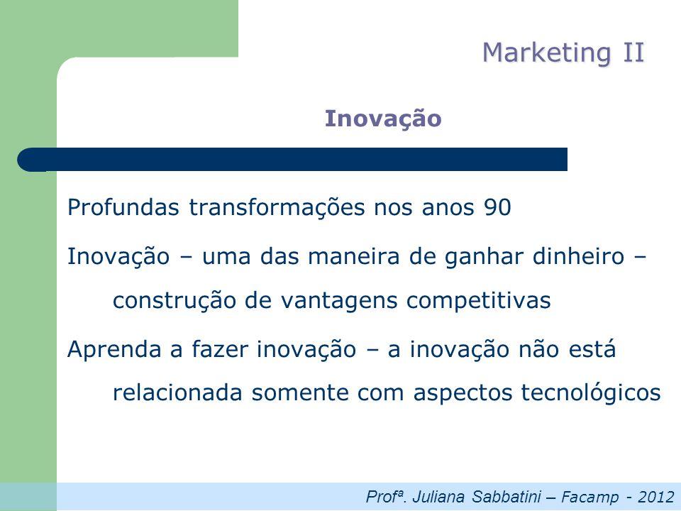 Profª. Juliana Sabbatini – Facamp - 2012 Marketing II Inovação Profundas transformações nos anos 90 Inovação – uma das maneira de ganhar dinheiro – co