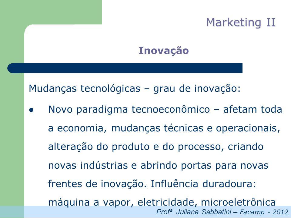 Profª. Juliana Sabbatini – Facamp - 2012 Marketing II Inovação Mudanças tecnológicas – grau de inovação: Novo paradigma tecnoeconômico – afetam toda a