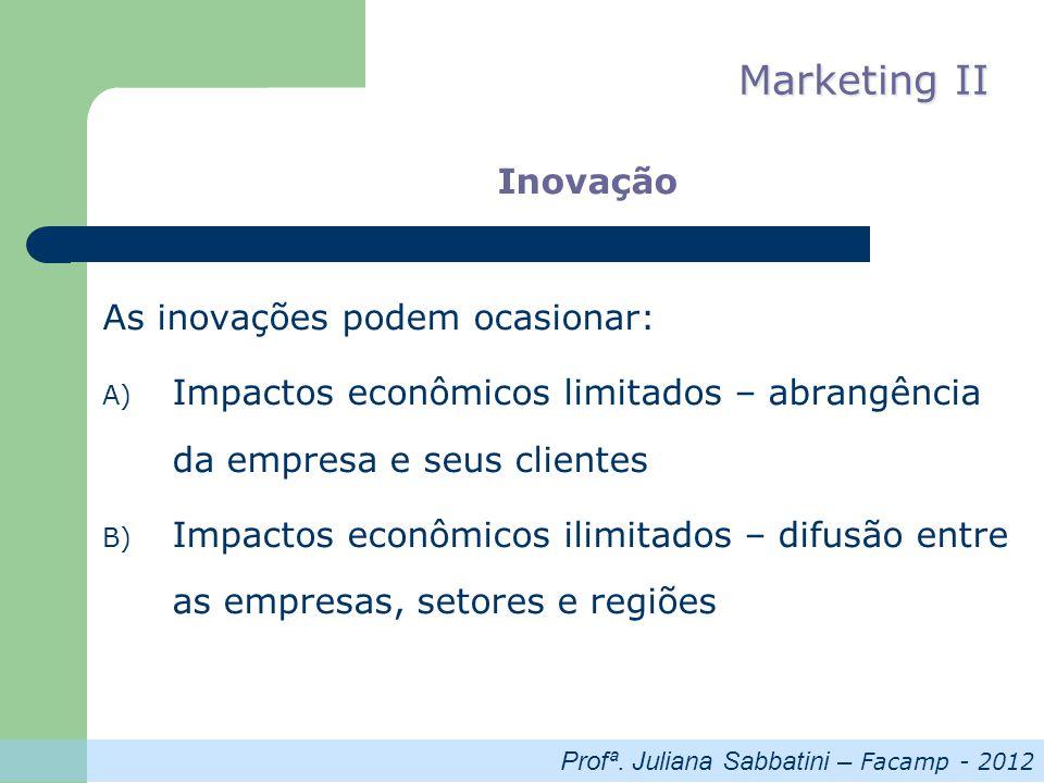 Profª. Juliana Sabbatini – Facamp - 2012 Marketing II Inovação As inovações podem ocasionar: A) Impactos econômicos limitados – abrangência da empresa