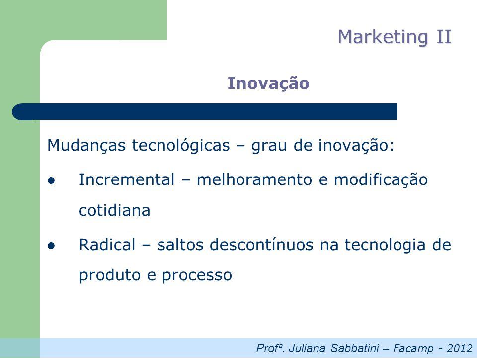 Profª. Juliana Sabbatini – Facamp - 2012 Marketing II Inovação Mudanças tecnológicas – grau de inovação: Incremental – melhoramento e modificação coti
