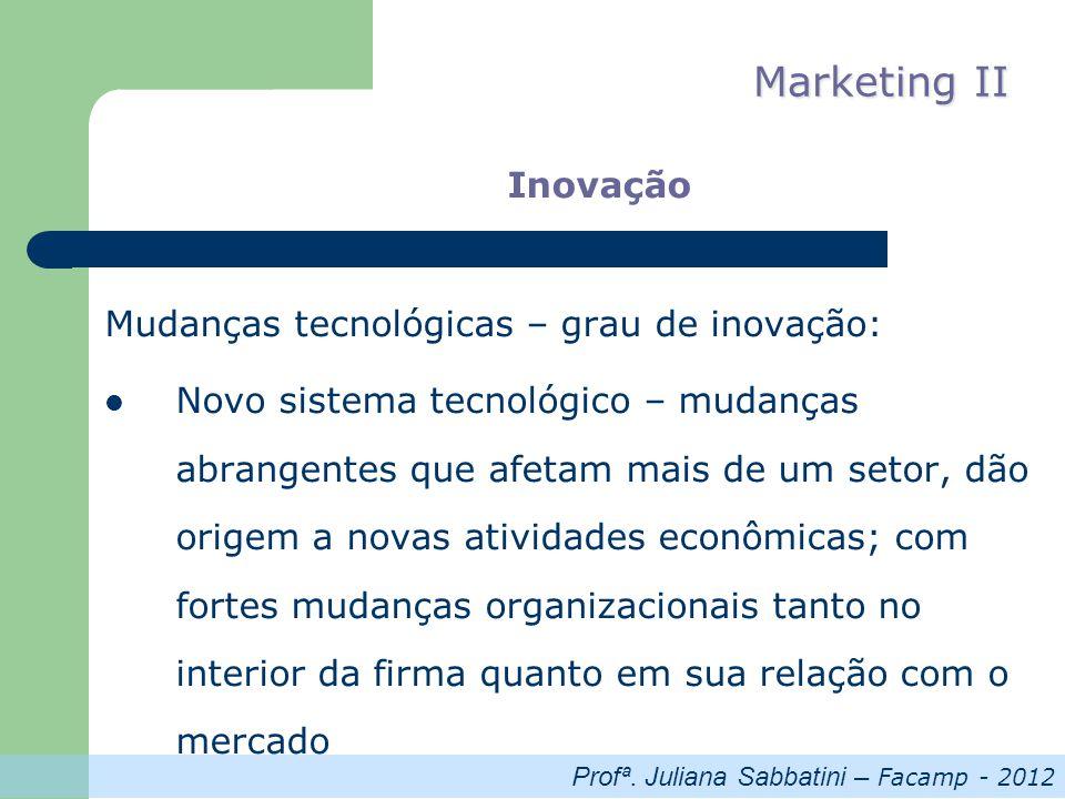 Profª. Juliana Sabbatini – Facamp - 2012 Marketing II Inovação Mudanças tecnológicas – grau de inovação: Novo sistema tecnológico – mudanças abrangent