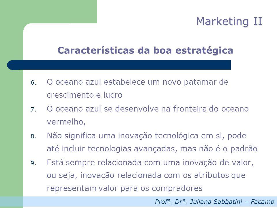 Profª. Drª. Juliana Sabbatini – Facamp Marketing II Características da boa estratégica 6. O oceano azul estabelece um novo patamar de crescimento e lu