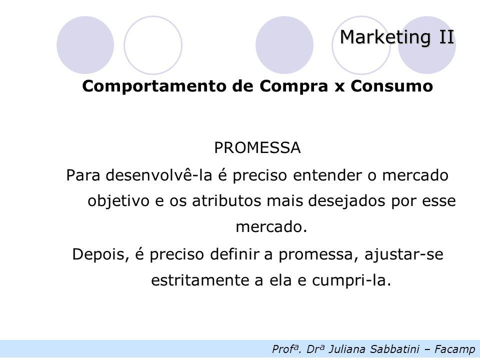 Profª. Drª Juliana Sabbatini – Facamp Marketing II Comportamento de Compra x Consumo PROMESSA Para desenvolvê-la é preciso entender o mercado objetivo