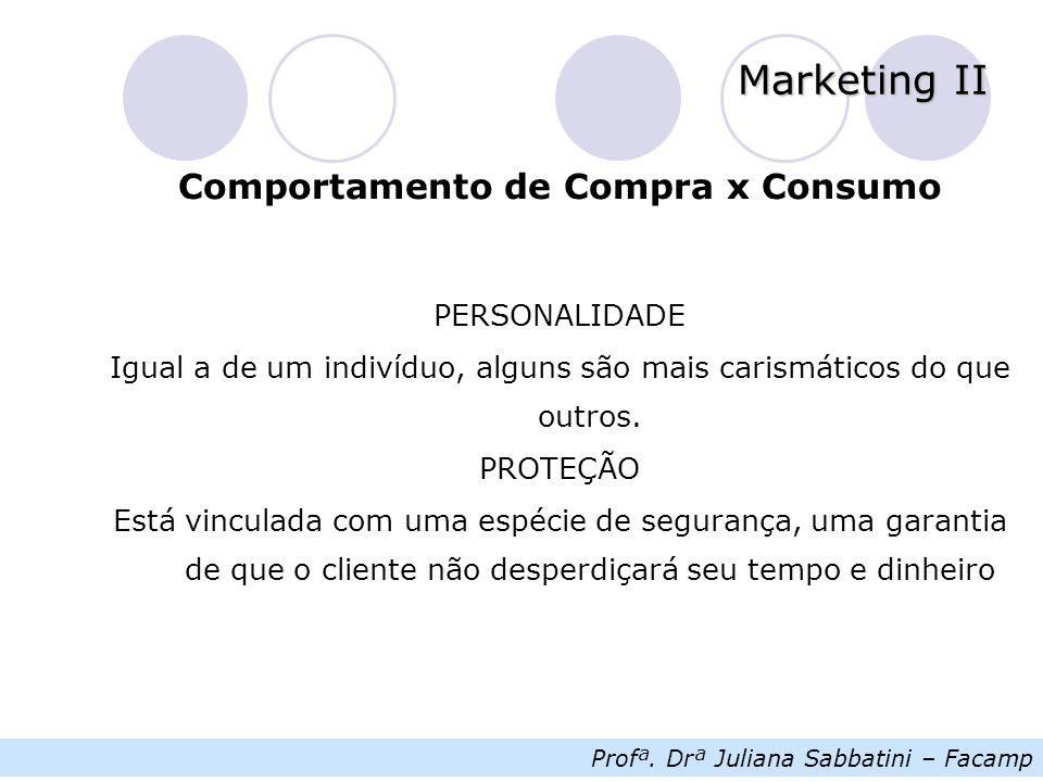 Profª. Drª Juliana Sabbatini – Facamp Marketing II Comportamento de Compra x Consumo PERSONALIDADE Igual a de um indivíduo, alguns são mais carismátic