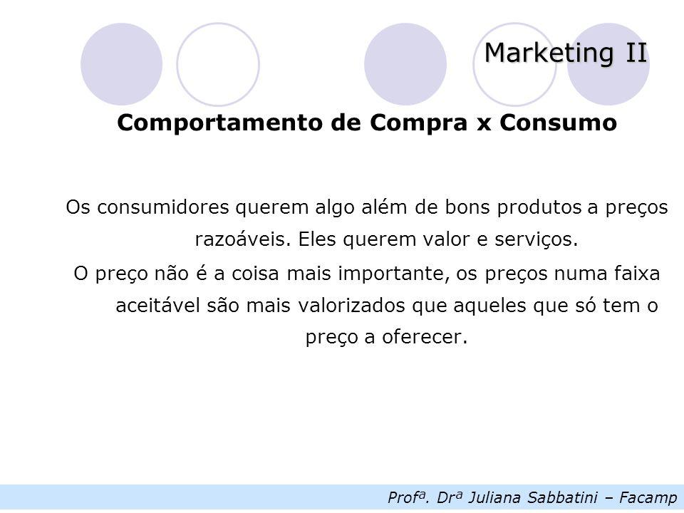 Profª. Drª Juliana Sabbatini – Facamp Marketing II Comportamento de Compra x Consumo Os consumidores querem algo além de bons produtos a preços razoáv