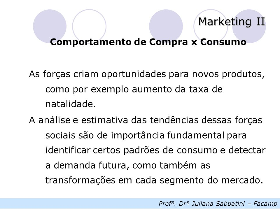 Profª. Drª Juliana Sabbatini – Facamp Marketing II Comportamento de Compra x Consumo As forças criam oportunidades para novos produtos, como por exemp