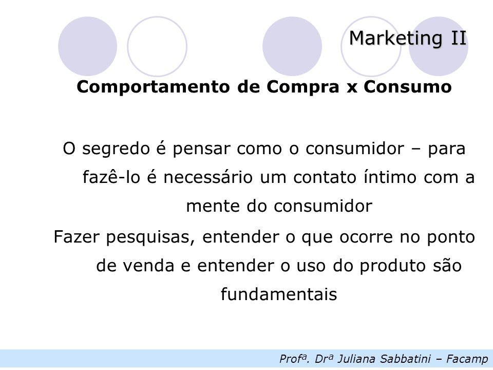 Profª. Drª Juliana Sabbatini – Facamp Marketing II Comportamento de Compra x Consumo O segredo é pensar como o consumidor – para fazê-lo é necessário