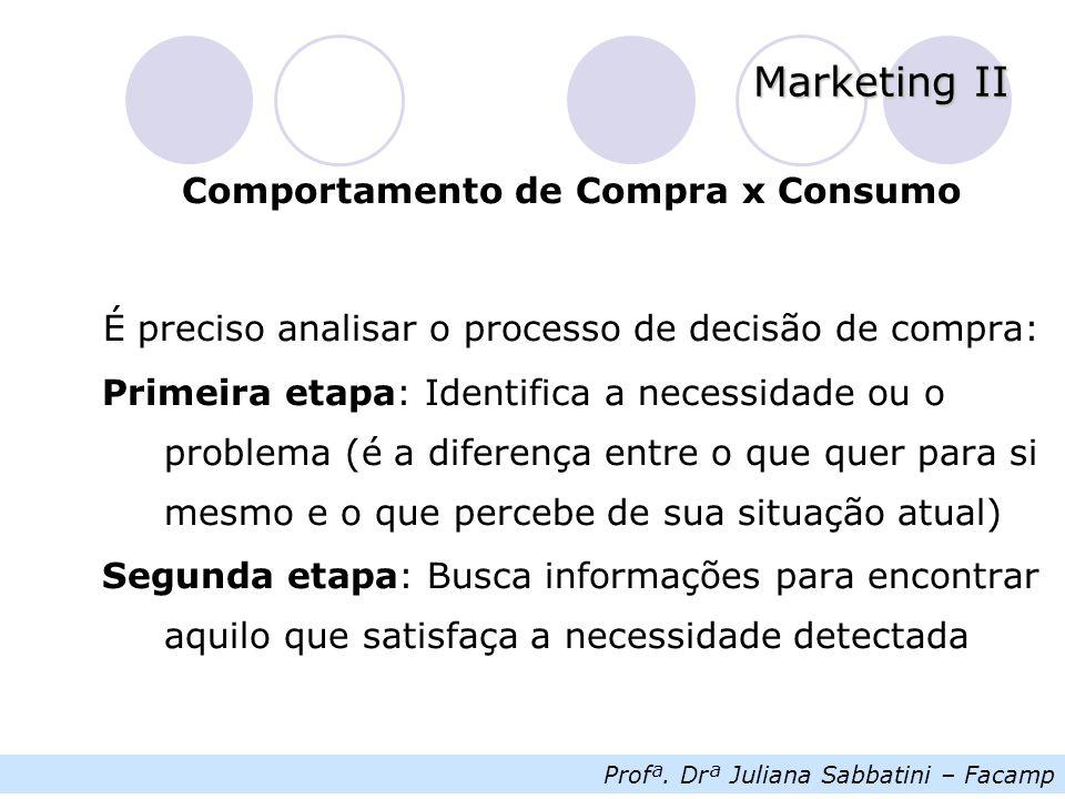 Profª. Drª Juliana Sabbatini – Facamp Marketing II Comportamento de Compra x Consumo É preciso analisar o processo de decisão de compra: Primeira etap