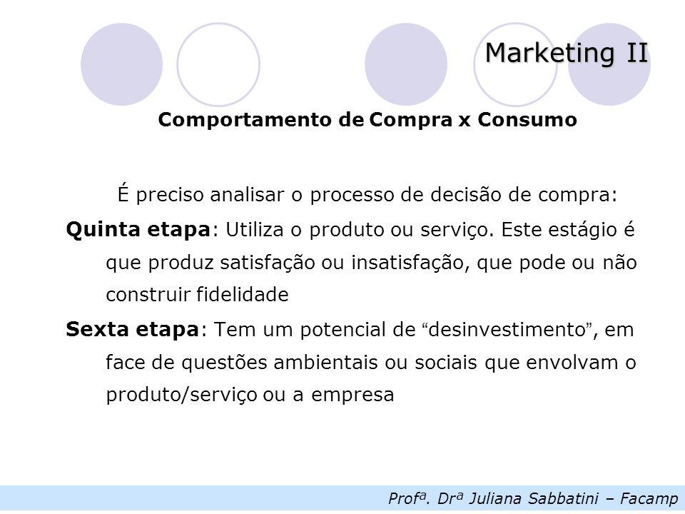 Profª. Drª Juliana Sabbatini – Facamp Marketing II Comportamento de Compra x Consumo É preciso analisar o processo de decisão de compra: Quinta etapa