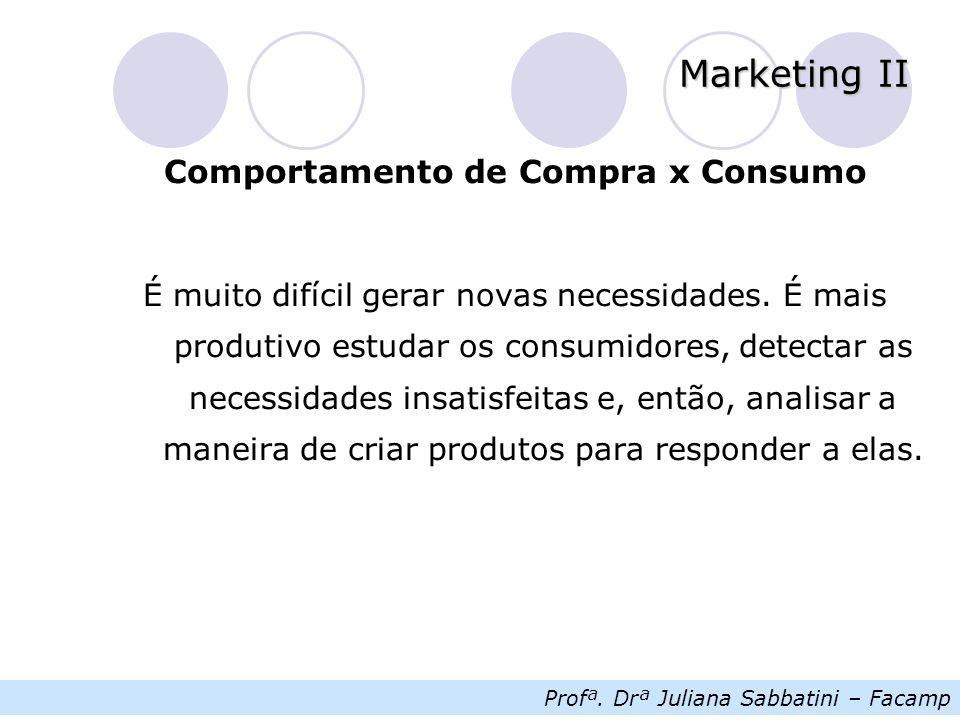 Profª. Drª Juliana Sabbatini – Facamp Marketing II Comportamento de Compra x Consumo É muito difícil gerar novas necessidades. É mais produtivo estuda