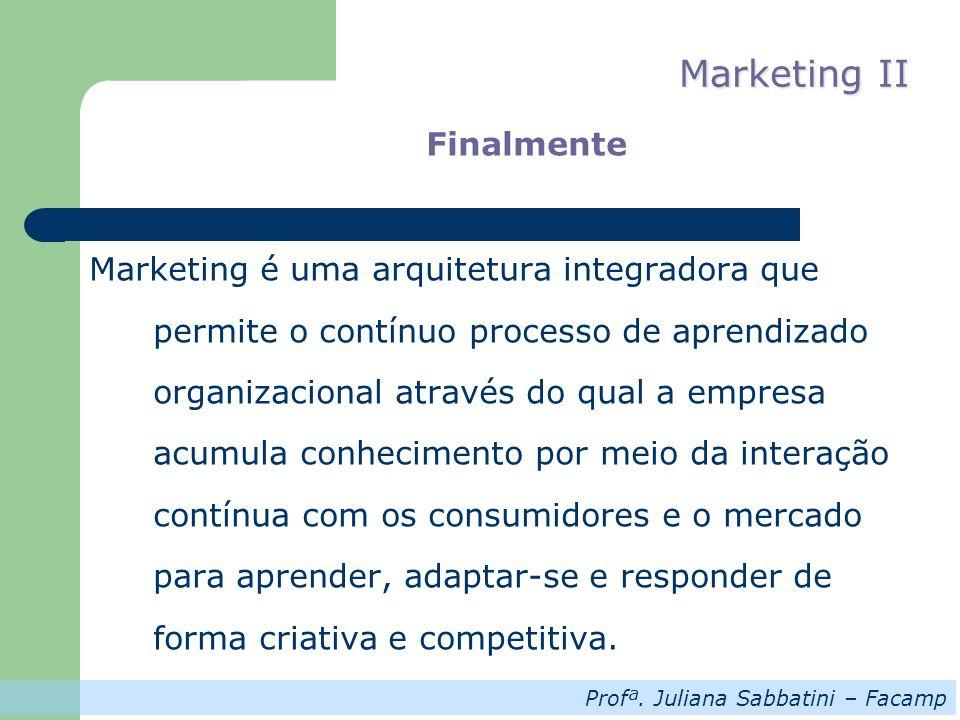 Profª. Juliana Sabbatini – Facamp Marketing II Finalmente Marketing é uma arquitetura integradora que permite o contínuo processo de aprendizado organ