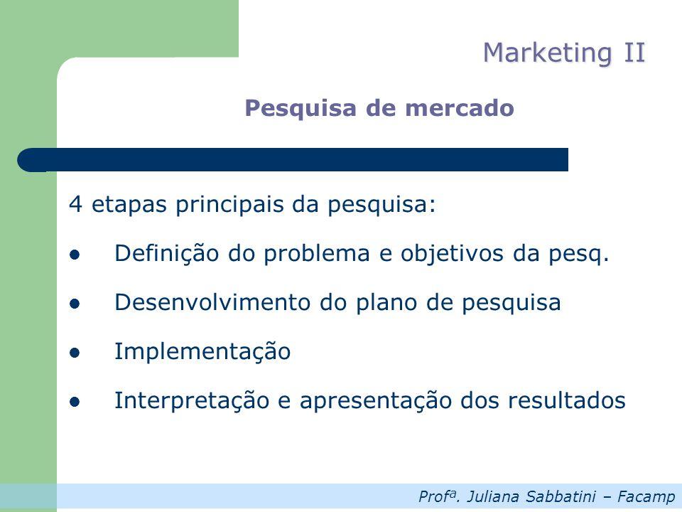Profª. Juliana Sabbatini – Facamp Marketing II Pesquisa de mercado 4 etapas principais da pesquisa: Definição do problema e objetivos da pesq. Desenvo