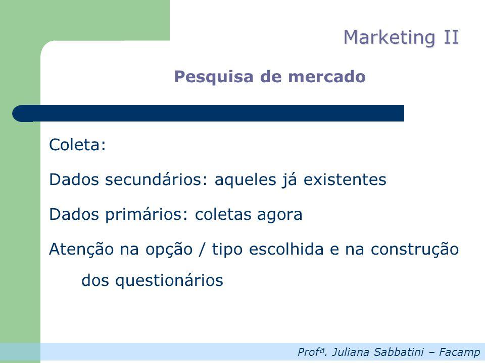 Profª. Juliana Sabbatini – Facamp Marketing II Pesquisa de mercado Coleta: Dados secundários: aqueles já existentes Dados primários: coletas agora Ate