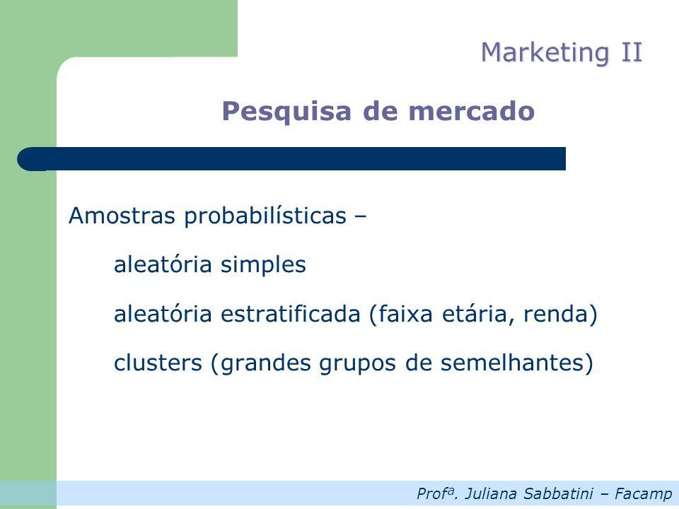 Profª. Juliana Sabbatini – Facamp Marketing II Pesquisa de mercado Amostras probabilísticas – aleatória simples aleatória estratificada (faixa etária,