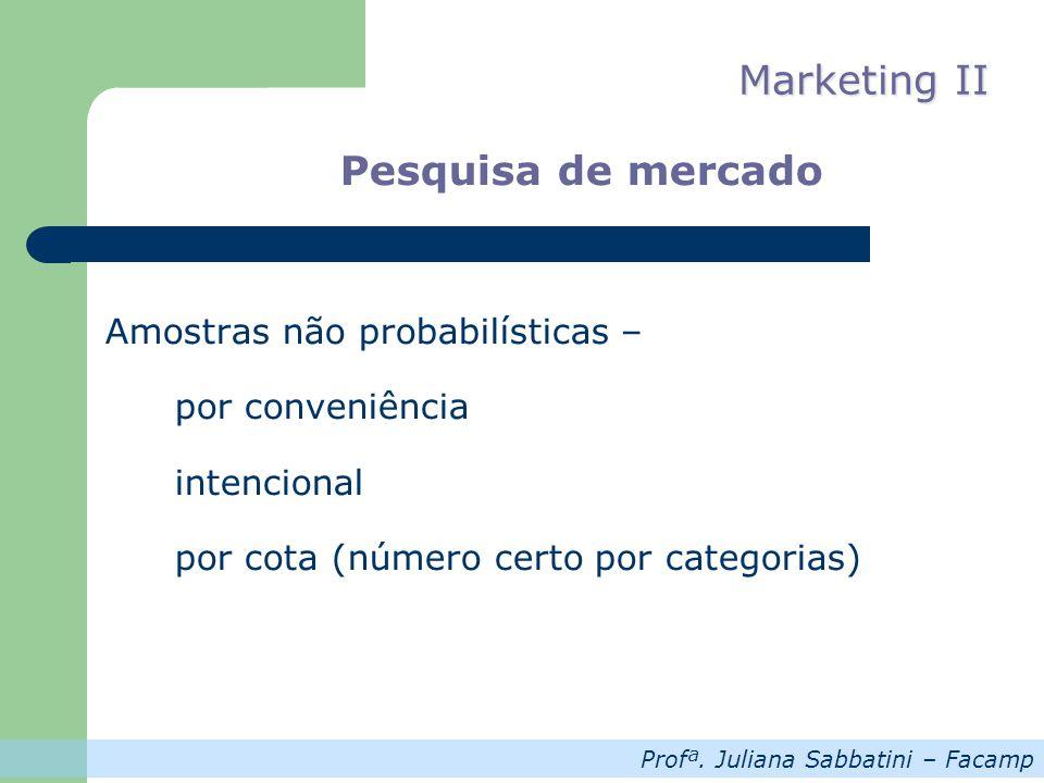 Profª. Juliana Sabbatini – Facamp Marketing II Pesquisa de mercado Amostras não probabilísticas – por conveniência intencional por cota (número certo