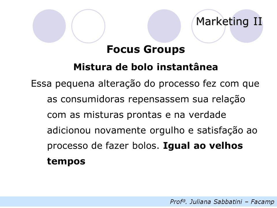 Profª.Juliana Sabbatini – Facamp Marketing II Focus Groups Qual é a lição dessa história.