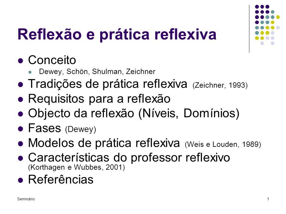 Seminário1 Reflexão e prática reflexiva Conceito Dewey, Schön, Shulman, Zeichner Tradições de prática reflexiva (Zeichner, 1993) Requisitos para a ref