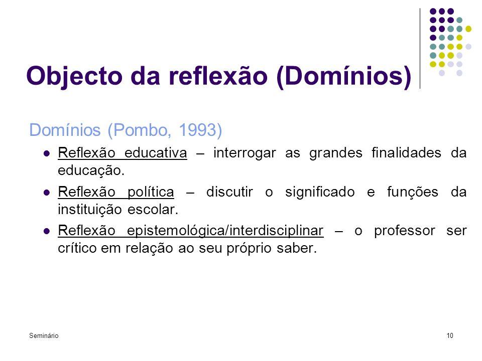 Seminário10 Objecto da reflexão (Domínios) Domínios (Pombo, 1993) Reflexão educativa – interrogar as grandes finalidades da educação. Reflexão polític