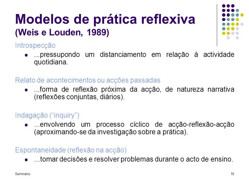 Seminário16 Modelos de prática reflexiva (Weis e Louden, 1989) Introspecção...pressupondo um distanciamento em relação à actividade quotidiana. Relato