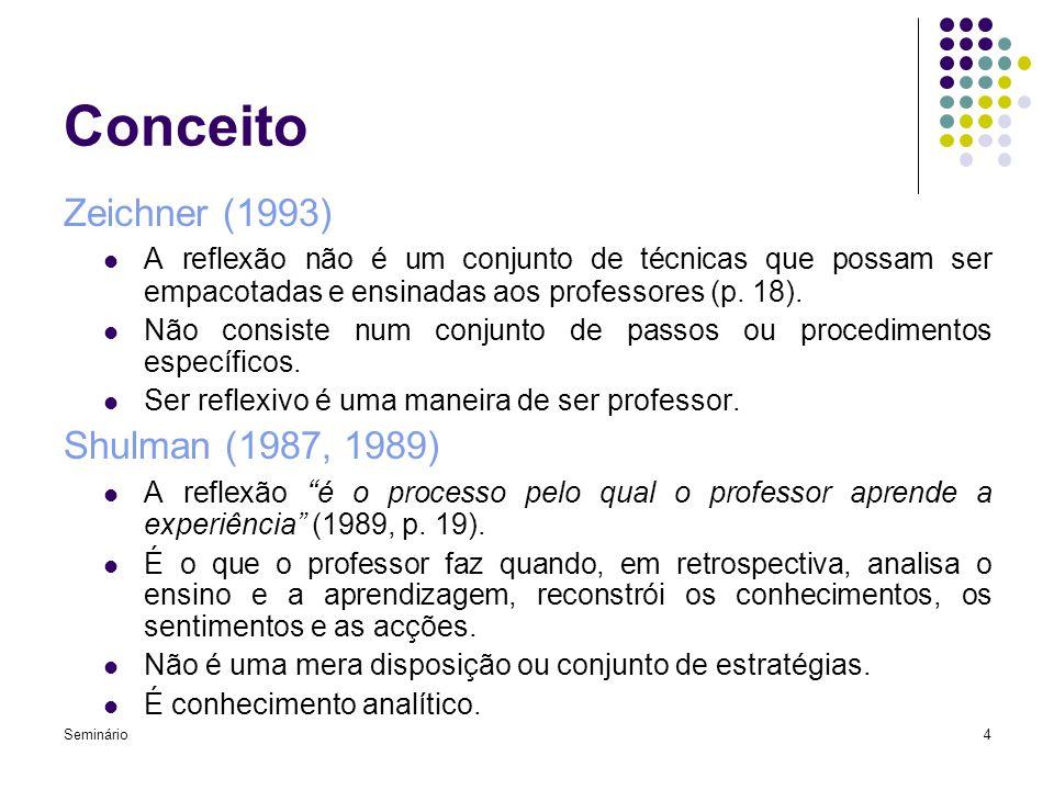 Seminário4 Conceito Zeichner (1993) A reflexão não é um conjunto de técnicas que possam ser empacotadas e ensinadas aos professores (p. 18). Não consi