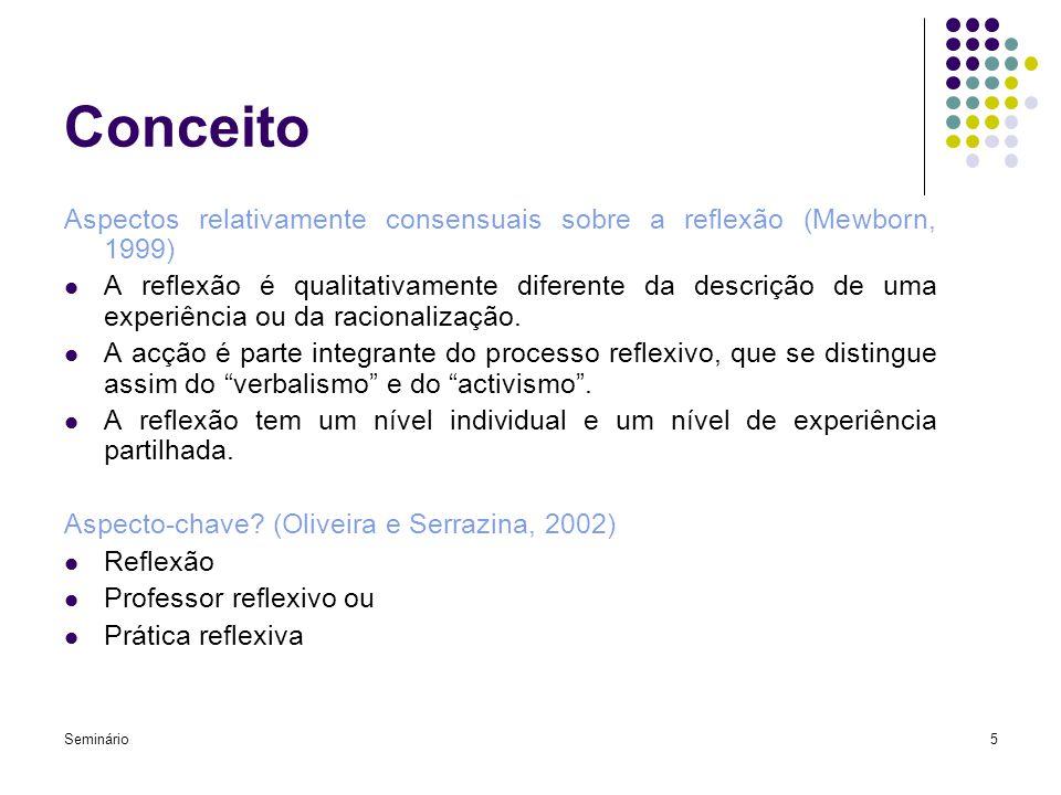 Seminário5 Conceito Aspectos relativamente consensuais sobre a reflexão (Mewborn, 1999) A reflexão é qualitativamente diferente da descrição de uma ex