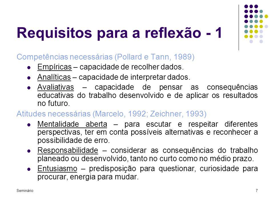 Seminário7 Requisitos para a reflexão - 1 Competências necessárias (Pollard e Tann, 1989) Empíricas – capacidade de recolher dados. Analíticas – capac