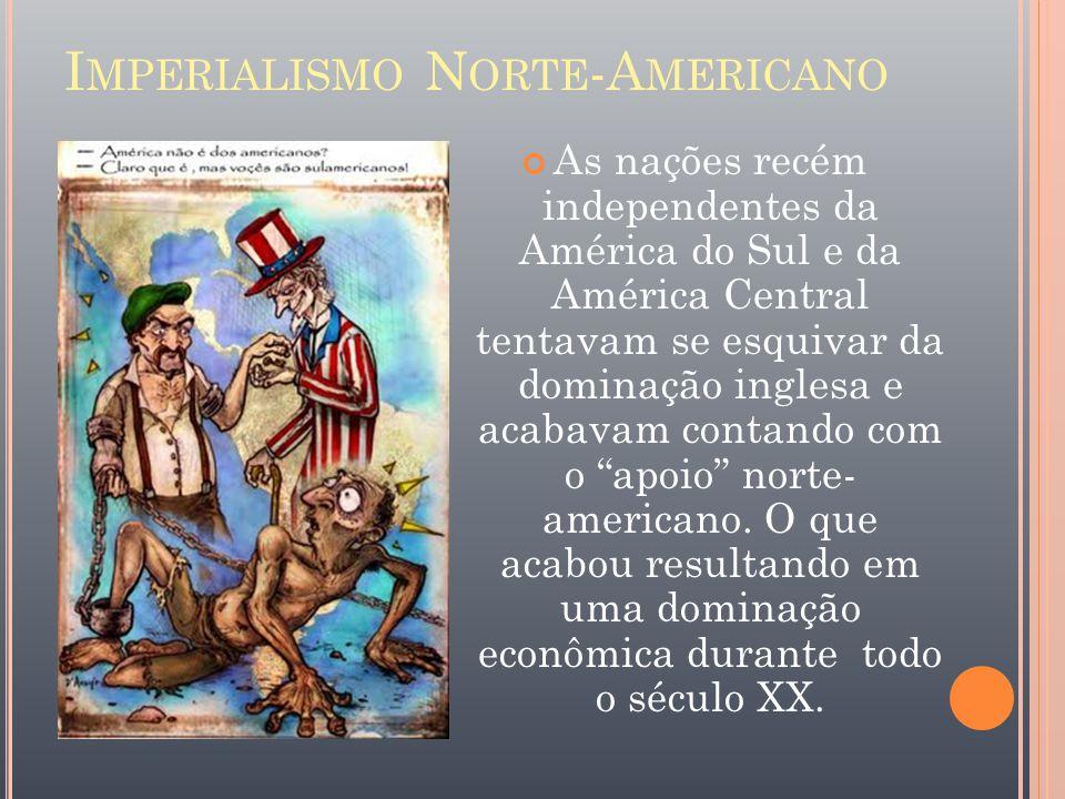 I MPERIALISMO N ORTE -A MERICANO As nações recém independentes da América do Sul e da América Central tentavam se esquivar da dominação inglesa e acab