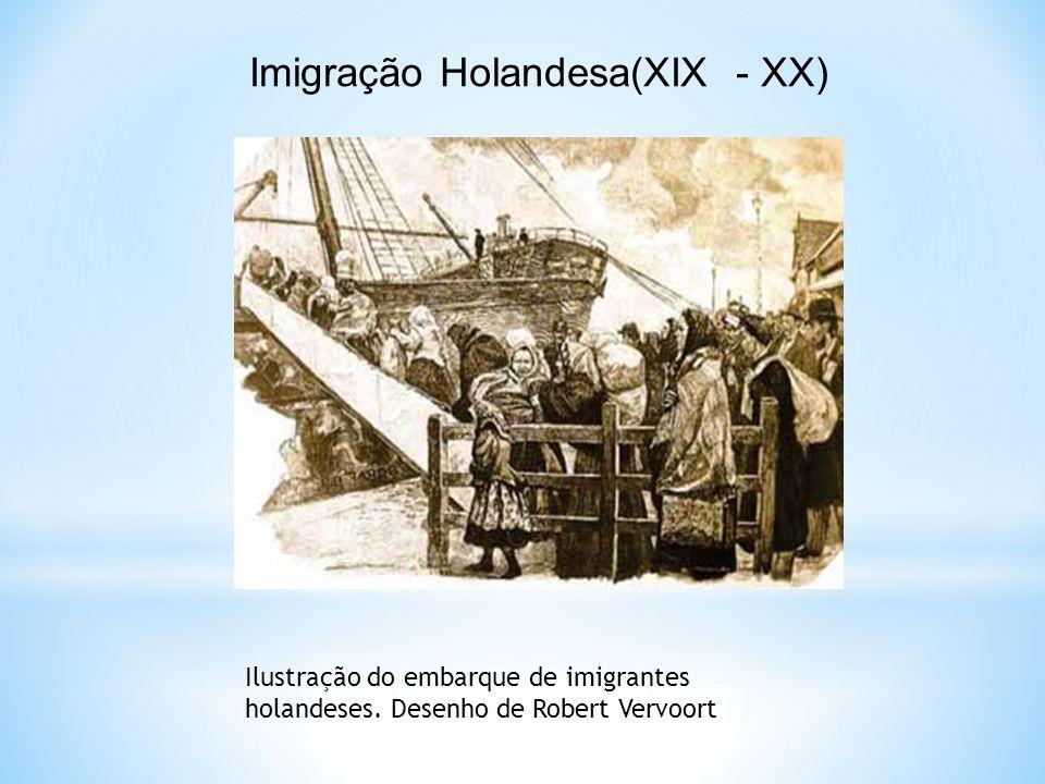 Imigração Holandesa(XIX - XX) Ilustração do embarque de imigrantes holandeses. Desenho de Robert Vervoort