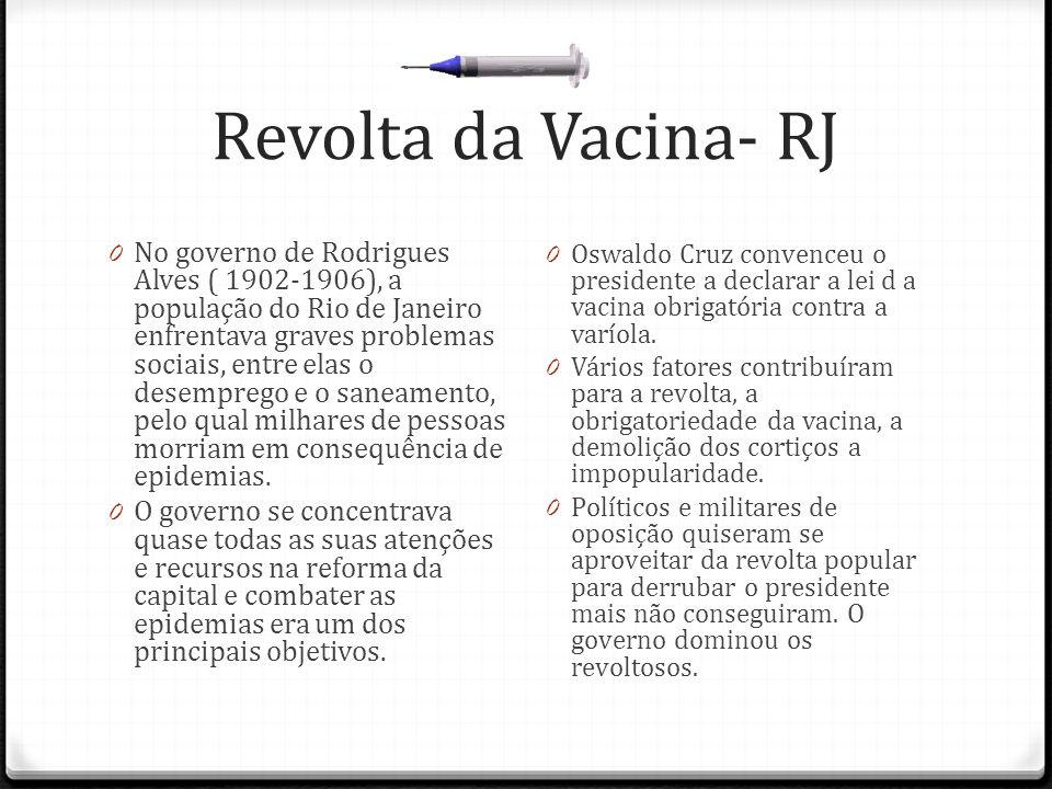 Revolta da Vacina- RJ 0 No governo de Rodrigues Alves ( 1902-1906), a população do Rio de Janeiro enfrentava graves problemas sociais, entre elas o de
