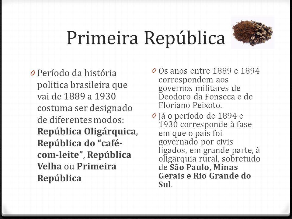 Primeira República 0 Período da história politica brasileira que vai de 1889 a 1930 costuma ser designado de diferentes modos: República Oligárquica,