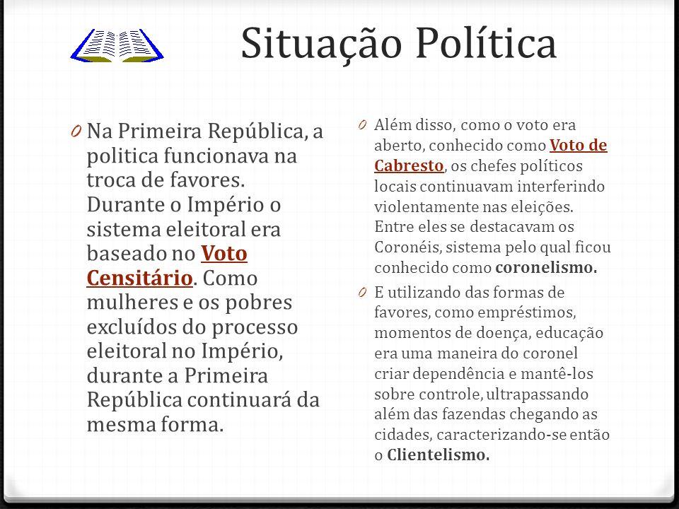 Situação Política 0 Na Primeira República, a politica funcionava na troca de favores. Durante o Império o sistema eleitoral era baseado no Voto Censit