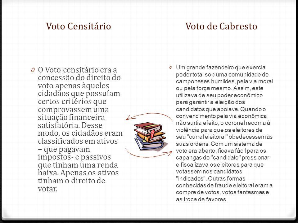 Voto CensitárioVoto de Cabresto 0 O Voto censitário era a concessão do direito do voto apenas àqueles cidadãos que possuíam certos critérios que compr