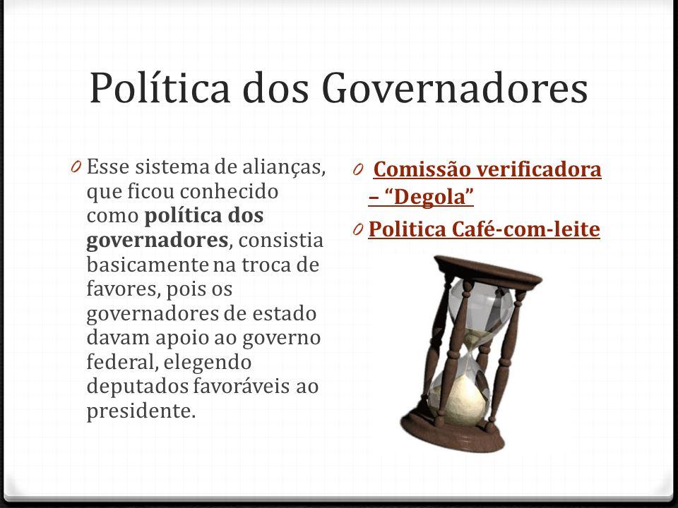 Política dos Governadores 0 Esse sistema de alianças, que ficou conhecido como política dos governadores, consistia basicamente na troca de favores, p