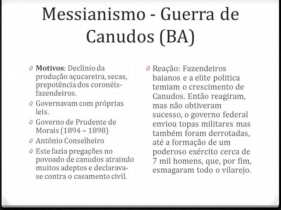 Messianismo - Guerra de Canudos (BA) 0 Motivos: Declínio da produção açucareira, secas, prepotência dos coronéis- fazendeiros. 0 Governavam com própri