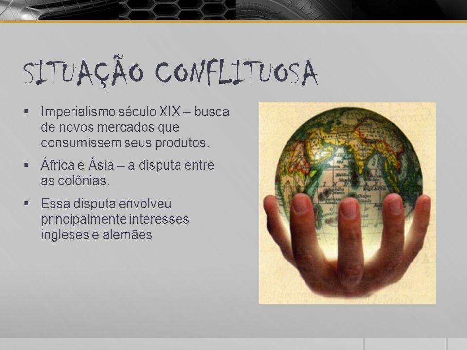 SITUAÇÃO CONFLITUOSA  Imperialismo século XIX – busca de novos mercados que consumissem seus produtos.  África e Ásia – a disputa entre as colônias.