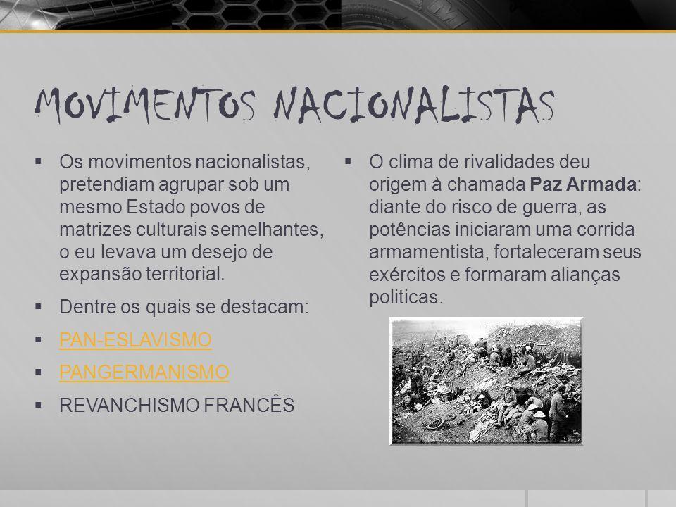 MOVIMENTOS NACIONALISTAS  Os movimentos nacionalistas, pretendiam agrupar sob um mesmo Estado povos de matrizes culturais semelhantes, o eu levava um